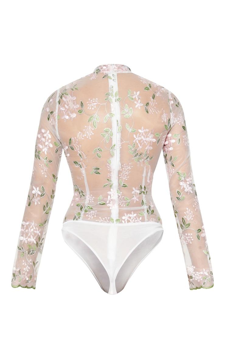 White Embroidered Sheer High Neck Long Sleeve Bodysuit 4