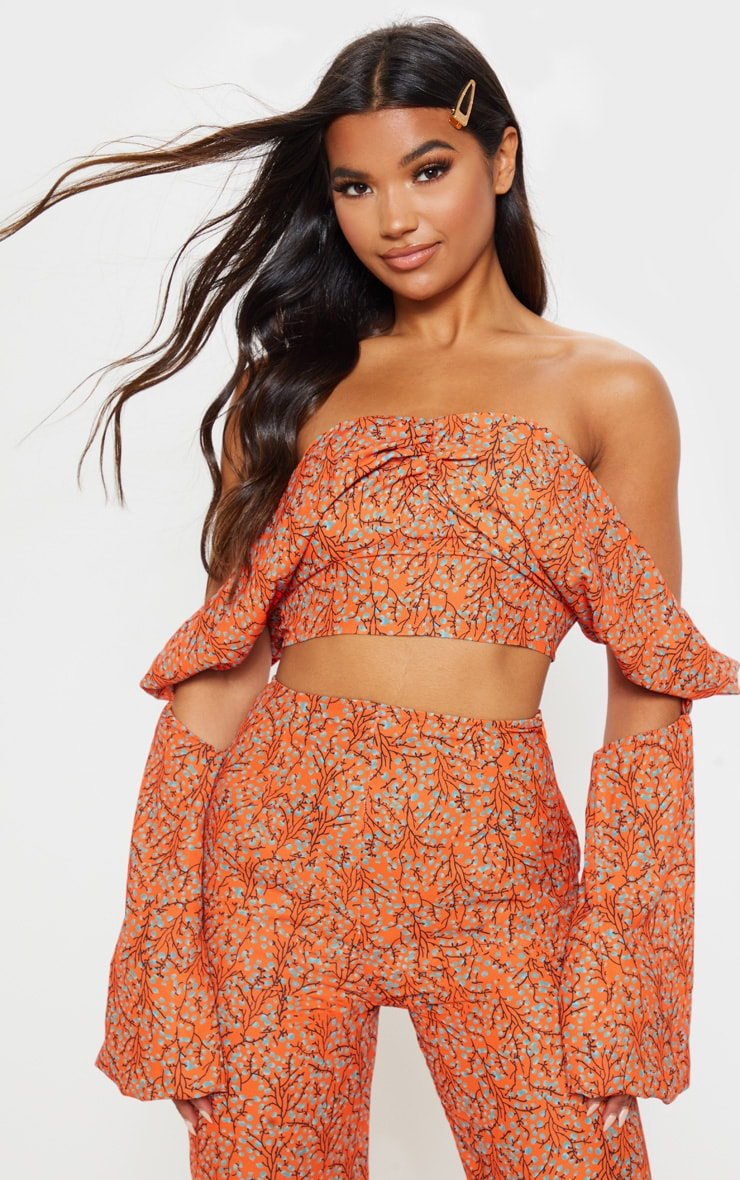 Orange Floral Print Satin Bardot Drape Detail Crop Top 1