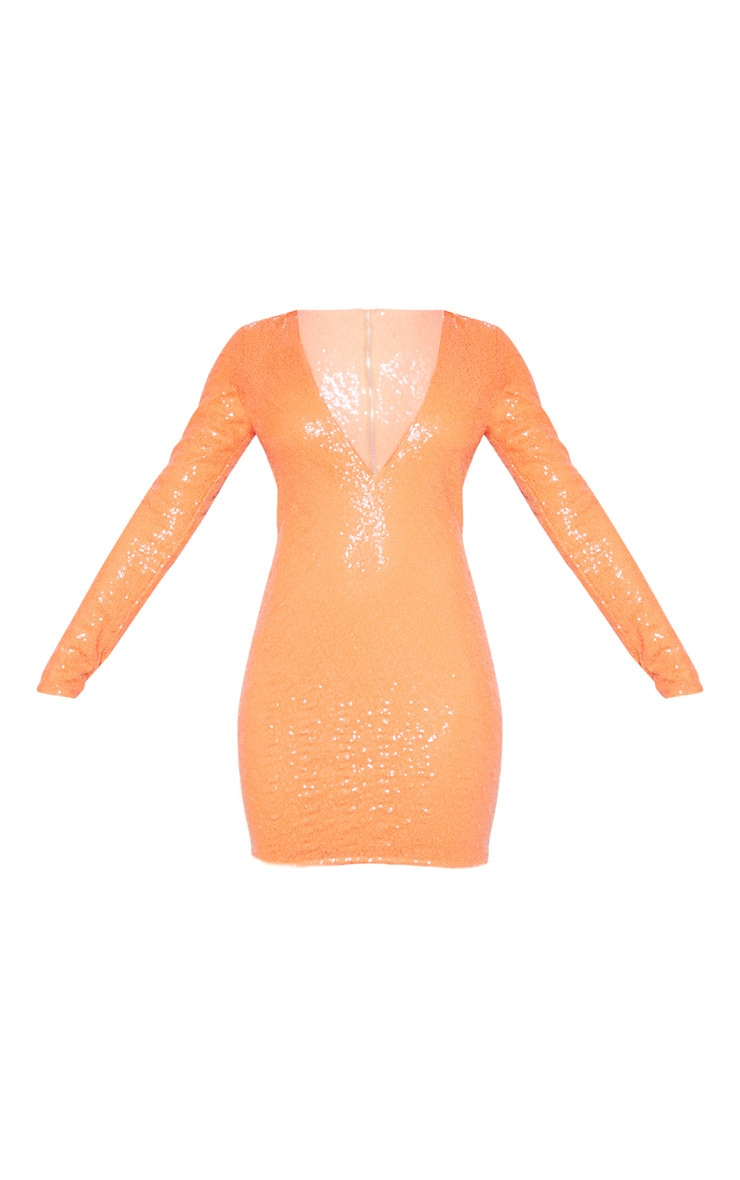 Tall Coral Deep V Long Sleeve Sequin Dress 3