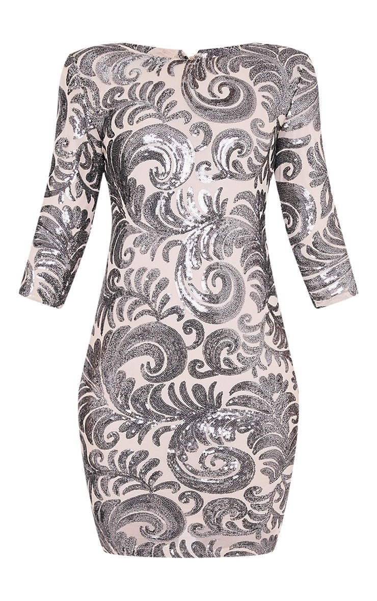 Dacota Nude Sequin Embellished Bodycon Dress 3