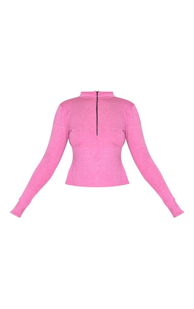 Pink Marl Half Zip Gym Top 5