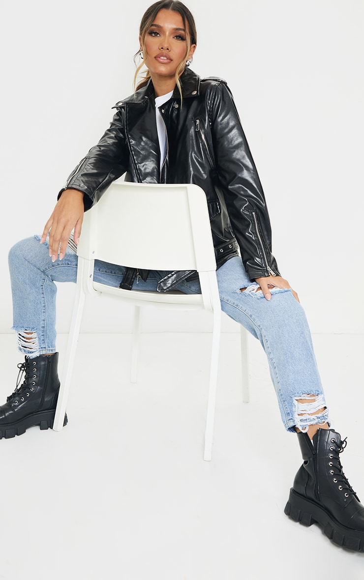 Black Oversized PU Biker Jacket 3