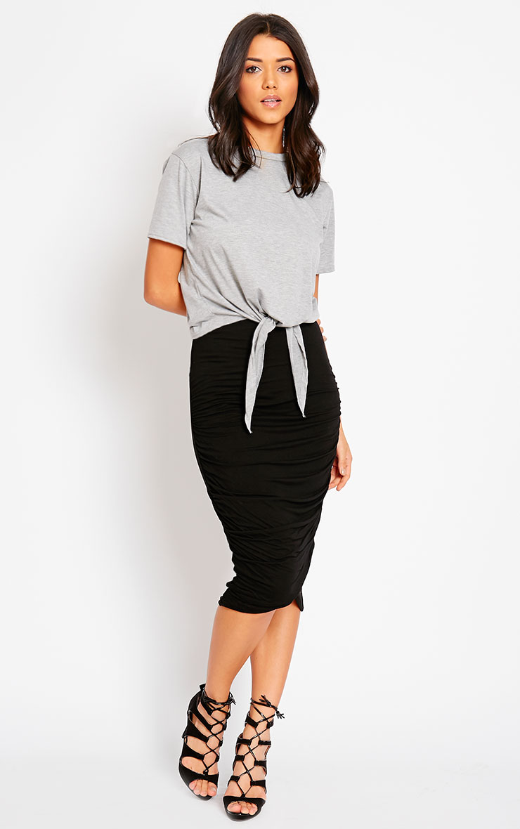 Asia Black Jersey Ruched Midi Skirt 3