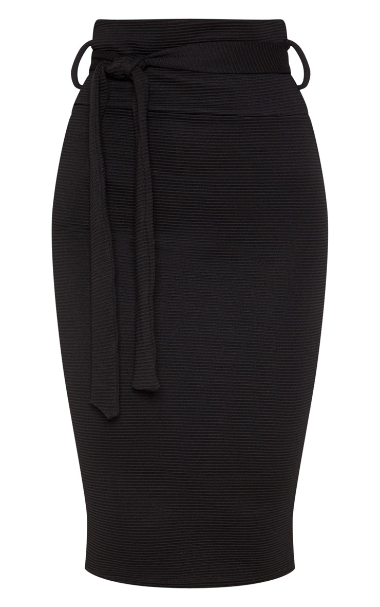 Black Highwaisted Thick Rib Tie Midi Skirt  2