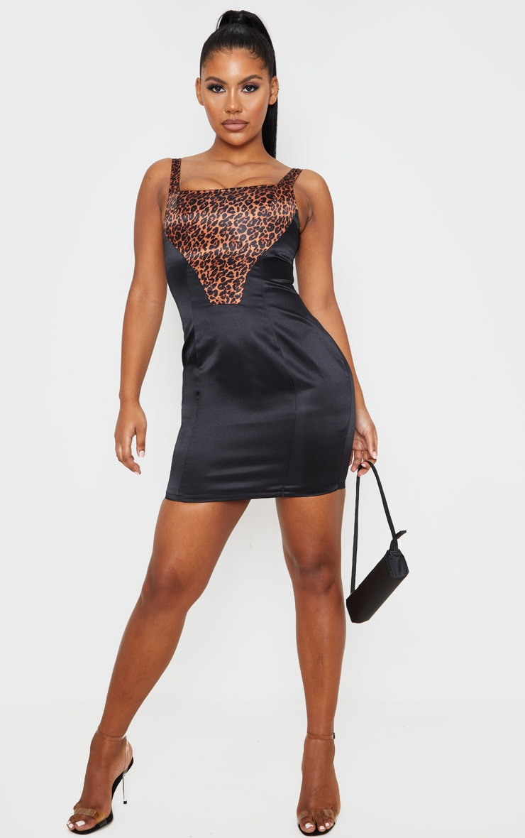 Black Sleeveless Leopard Print Insert Bodycon Dress 1