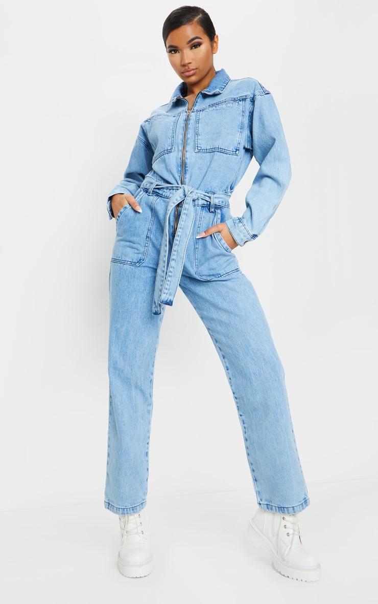 Acid Blue Wash Oversized Denim Jumpsuit 3