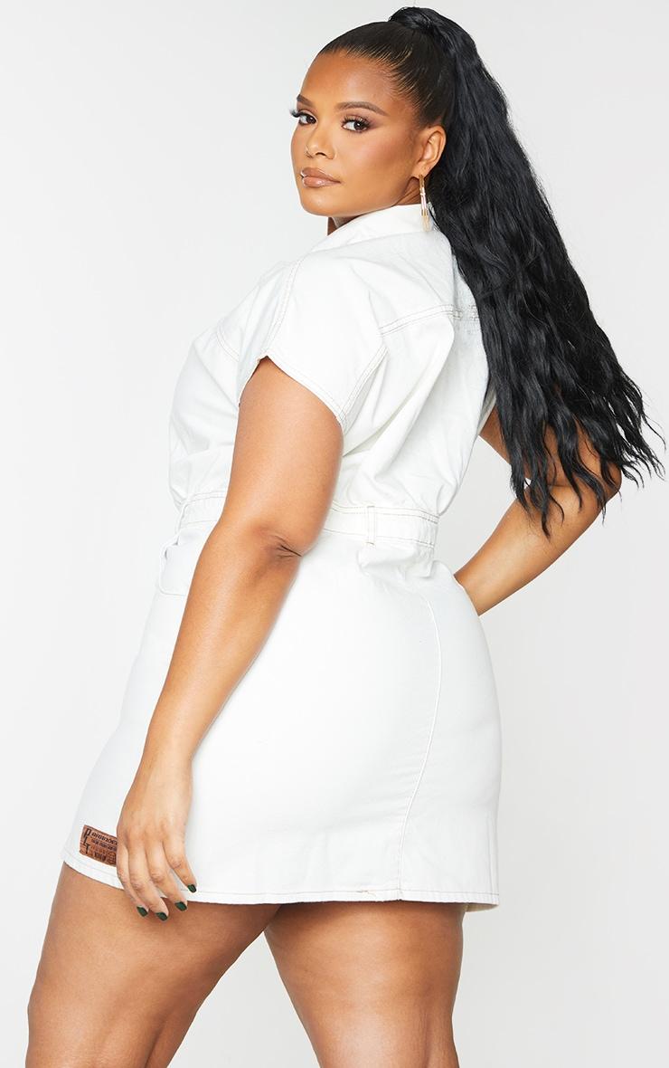 PRETTYLITTLETHING Plus Ecru Button Up Denim Dress 2