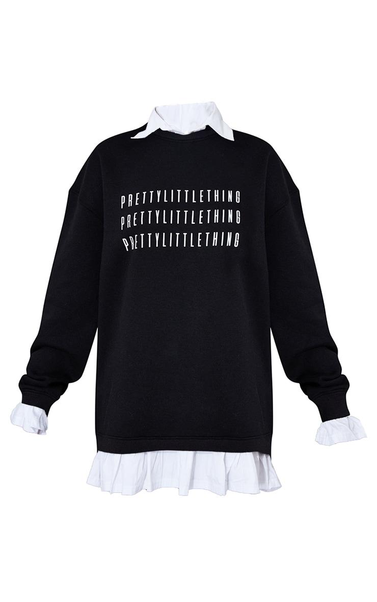 PRETTYLITTLETHING Black Contrast Shirt Detail Sweat Jumper Dress 5