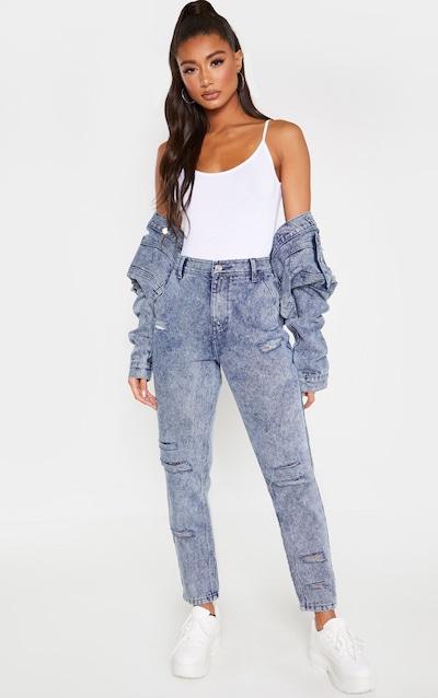 Indigo Vintage Wash Distressed Denim Jeans