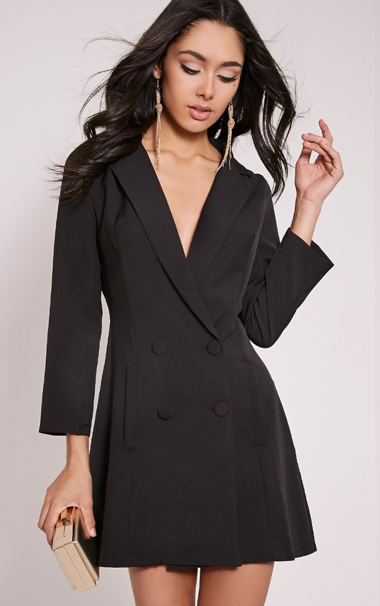 Tobyn Black Double Breasted Blazer Dress 1