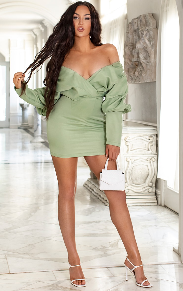 Sage Green Off The Shoulder Ruched Bodycon Dress 2