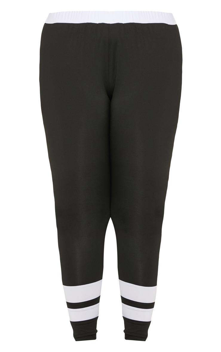 Plus Black Contrast Panel Legging  3