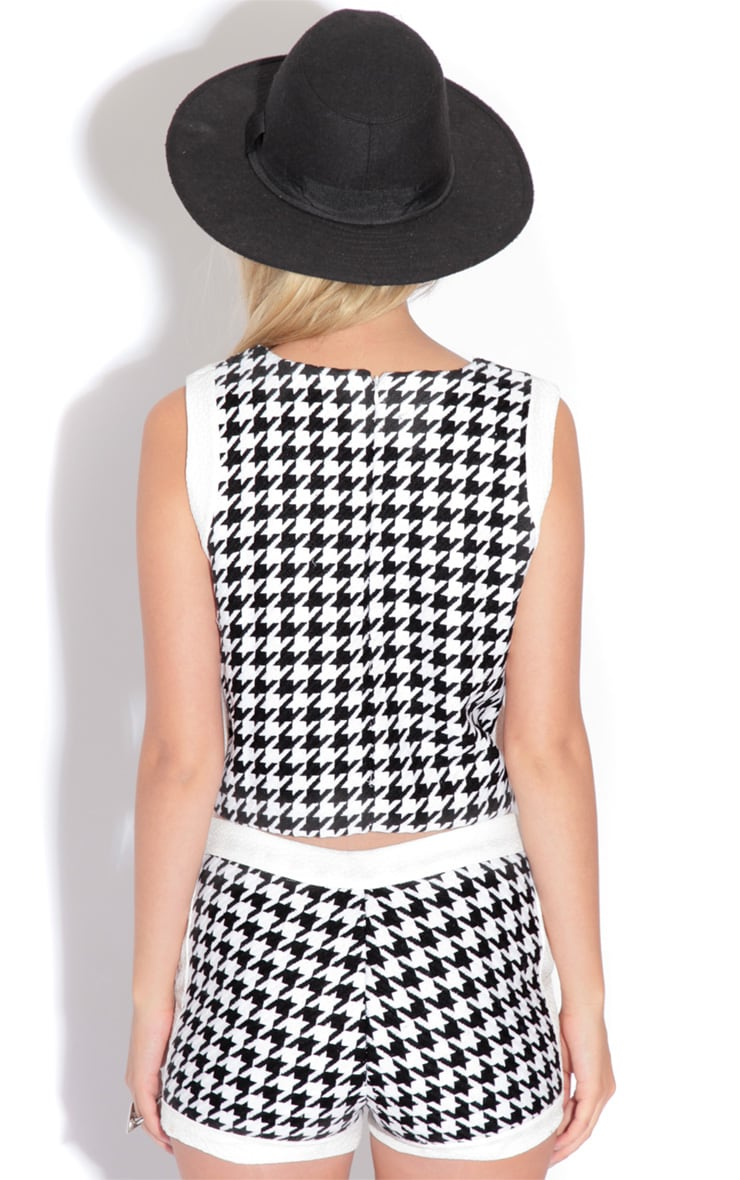 Payton Dogtooth Print Crop Top 2