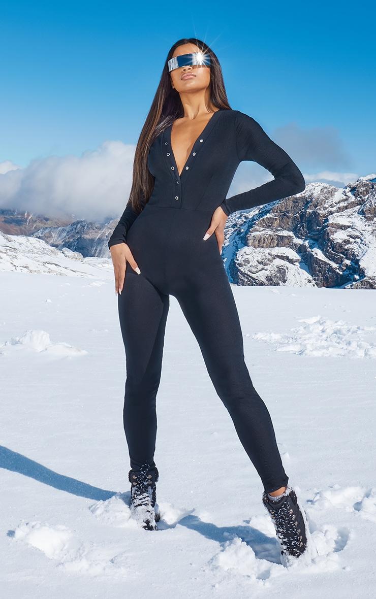 Black Rib Popper Detail Long Sleeve Jumpsuit 1