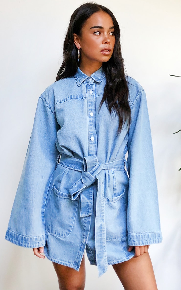 Light Blue Wash Bell Sleeved Tie Waist Denim Dress 1