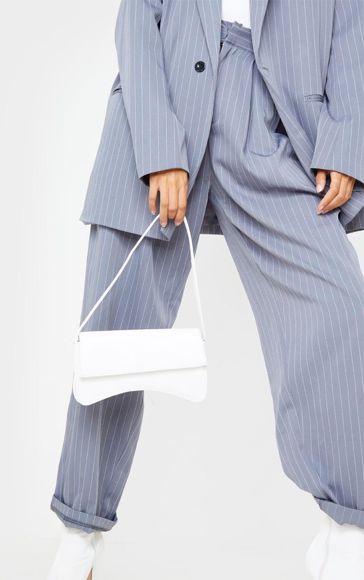 White PU Flap Over Baguette Shoulder Bag 2