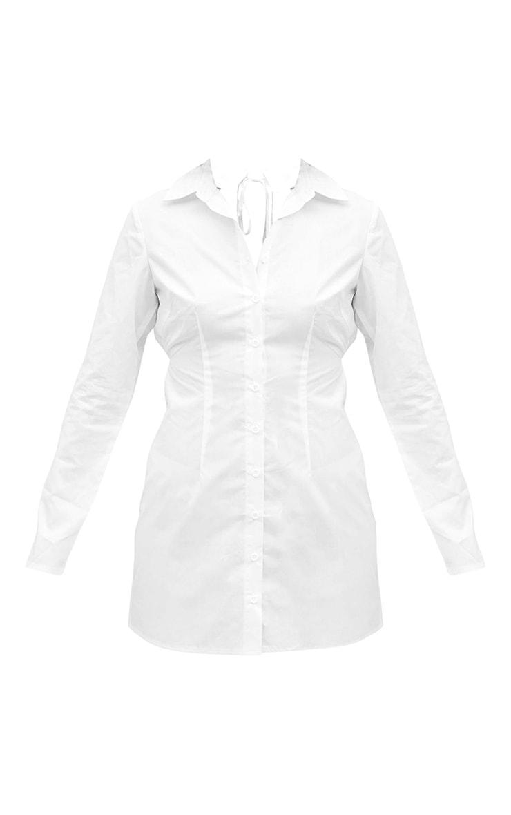 White Cut Out Tie Back Detail Shirt Dress 5