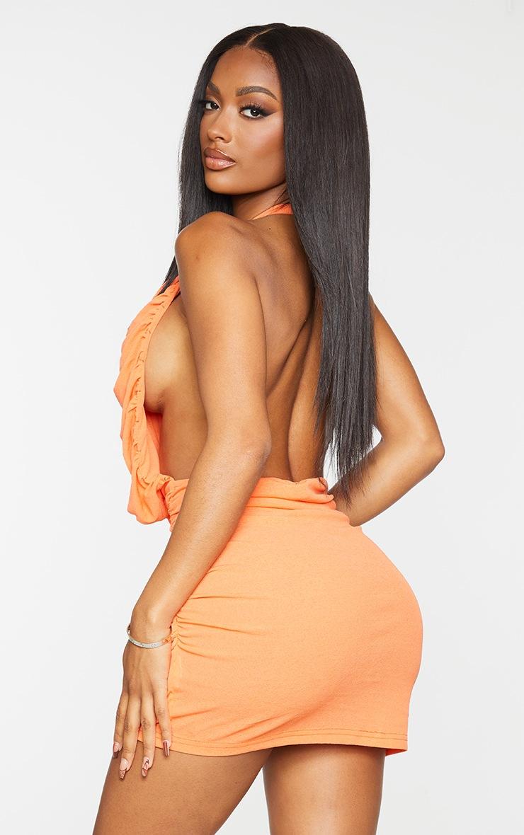 Shape Orange Halterneck Ruched Backless Bodycon Dress 2