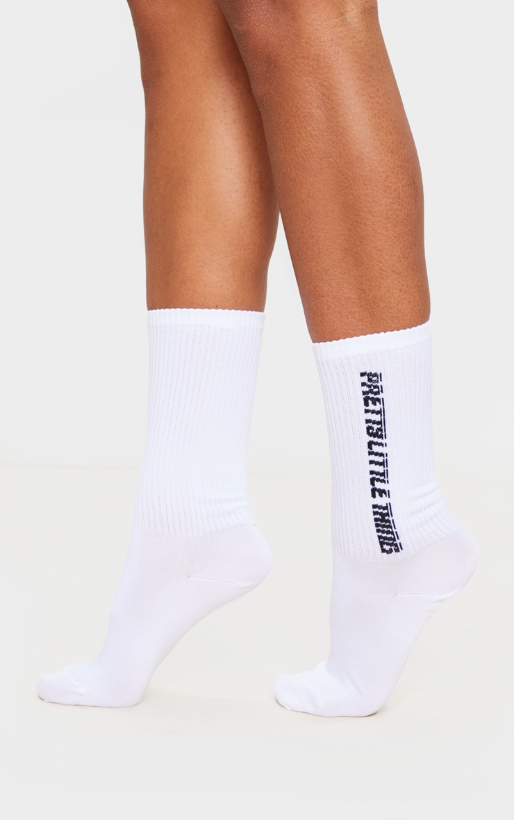 PRETTYLITTLETHING White Logo Side Socks 1