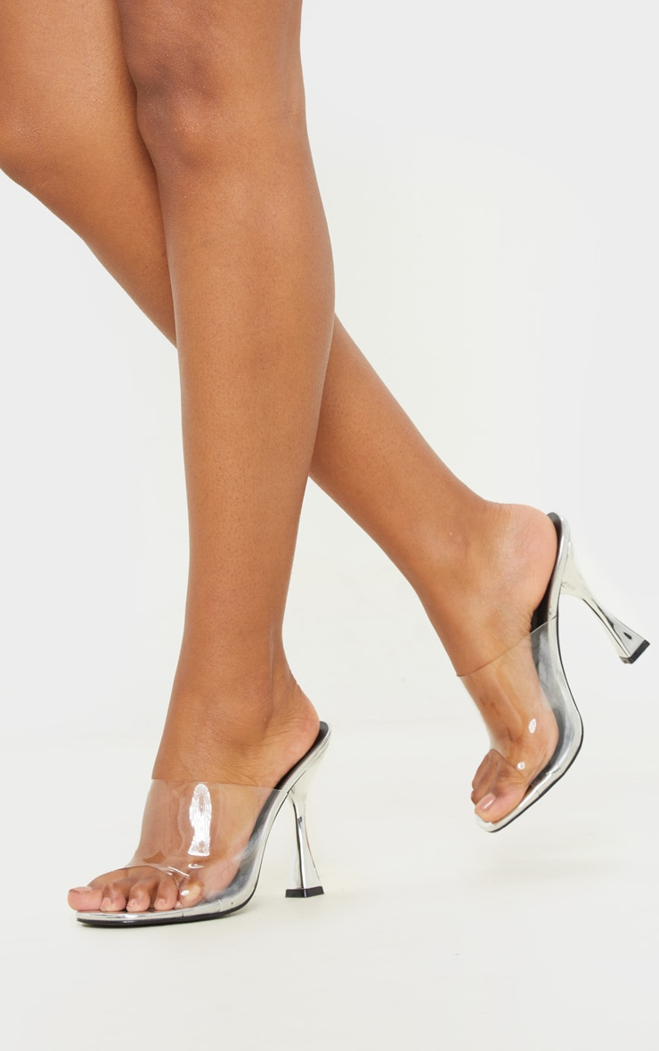Silver Flare Heel Mule Sandal 2