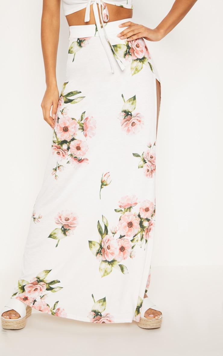 Jupe longue blanche imprimé floral 2