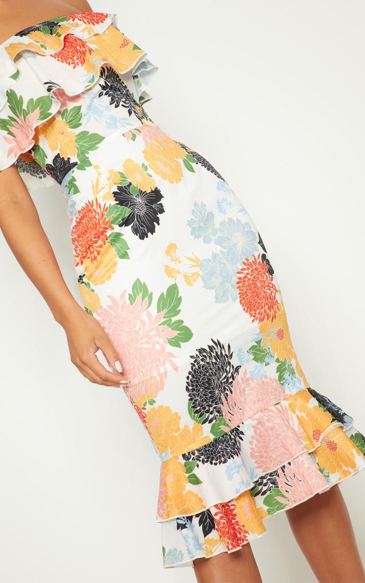 White Oriental Floral Print Frill Bardot Midi Dress  5