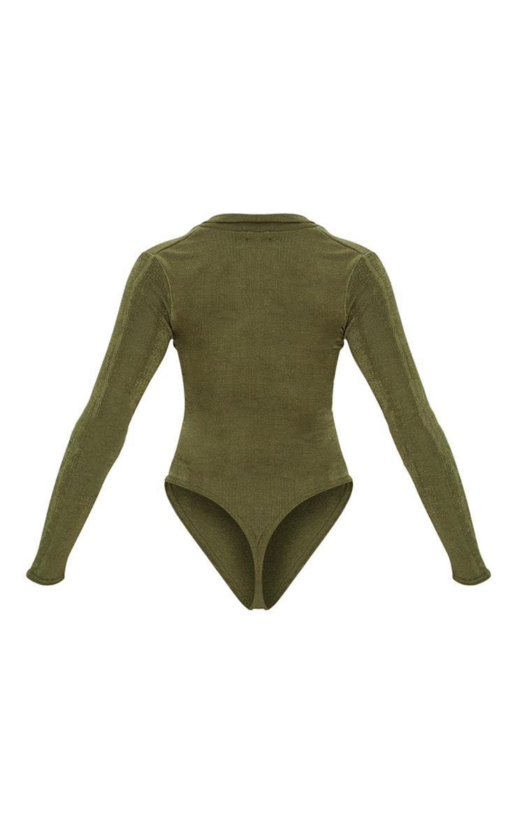 Khaki Rib Ruched Button Front Long Sleeve Bodysuit 6