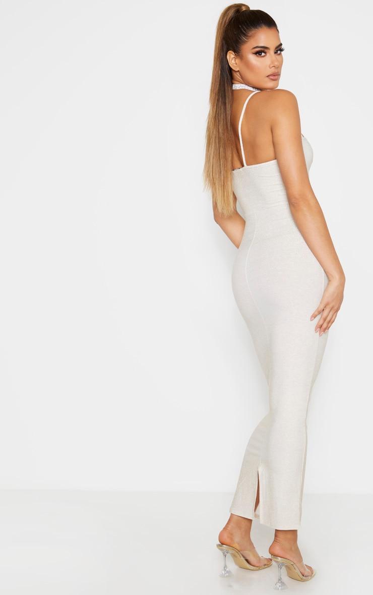 Tall Gold Strappy Bodycon Maxi Dress 2