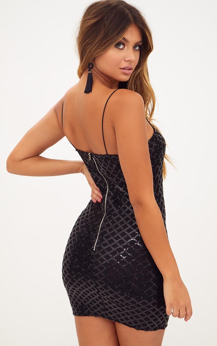 Zara black strappy straight neck bodycon dress over 40
