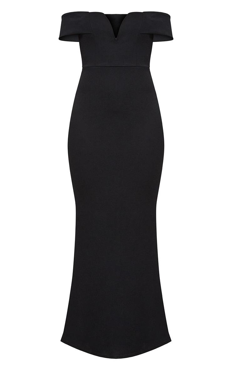 Black Bardot V Plunge Maxi Dress 3