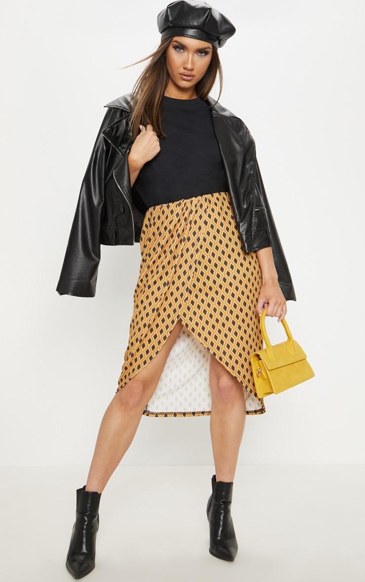 Mustard Geometric Printed Wrap Front Midi Skirt  1