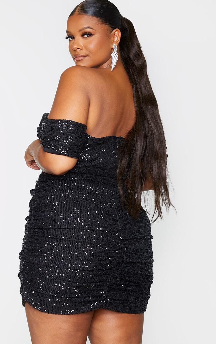 Plus Black Sequin Bardot Bodycon Dress 2
