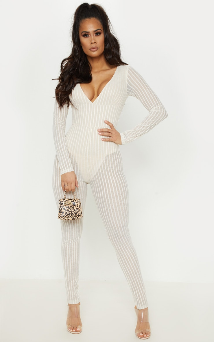 Nude Striped Mesh Sheer Plunge Jumpsuit 1