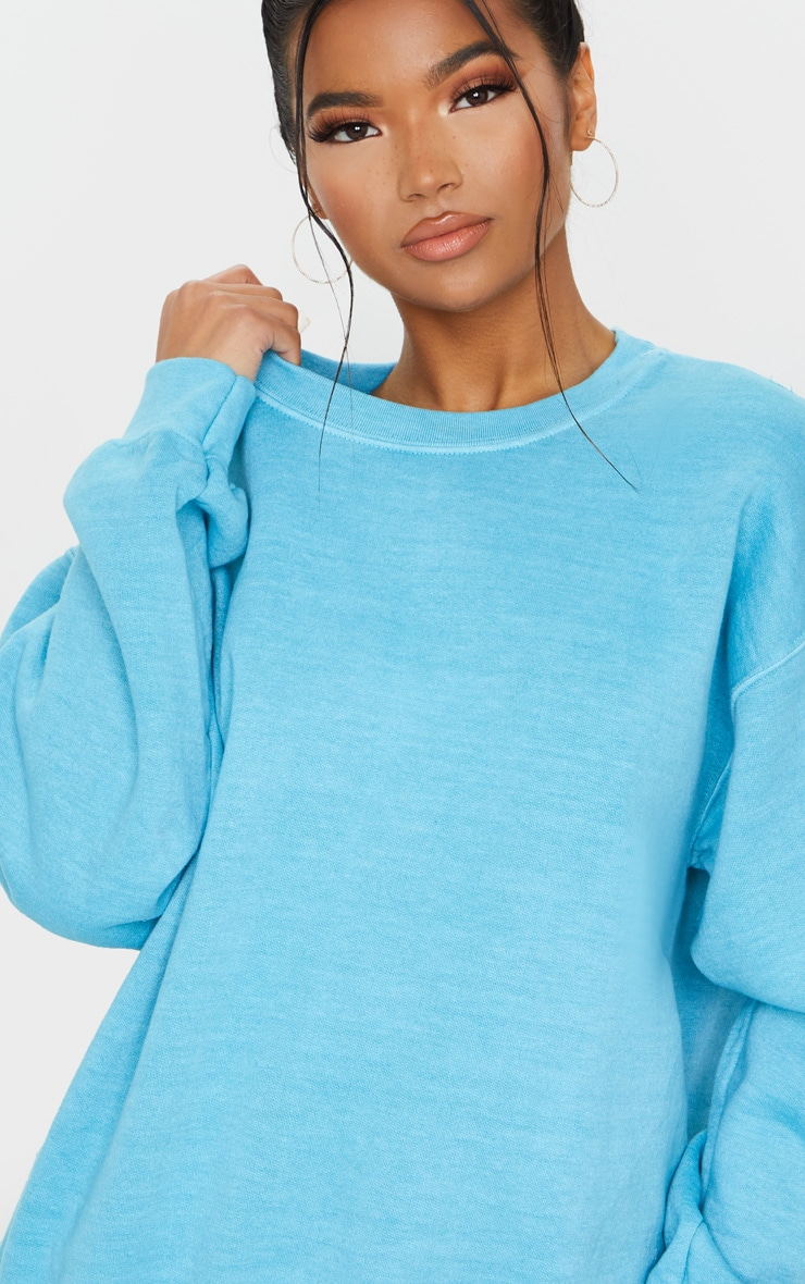 Dusty Turquoise Washed Oversized Sweater 4