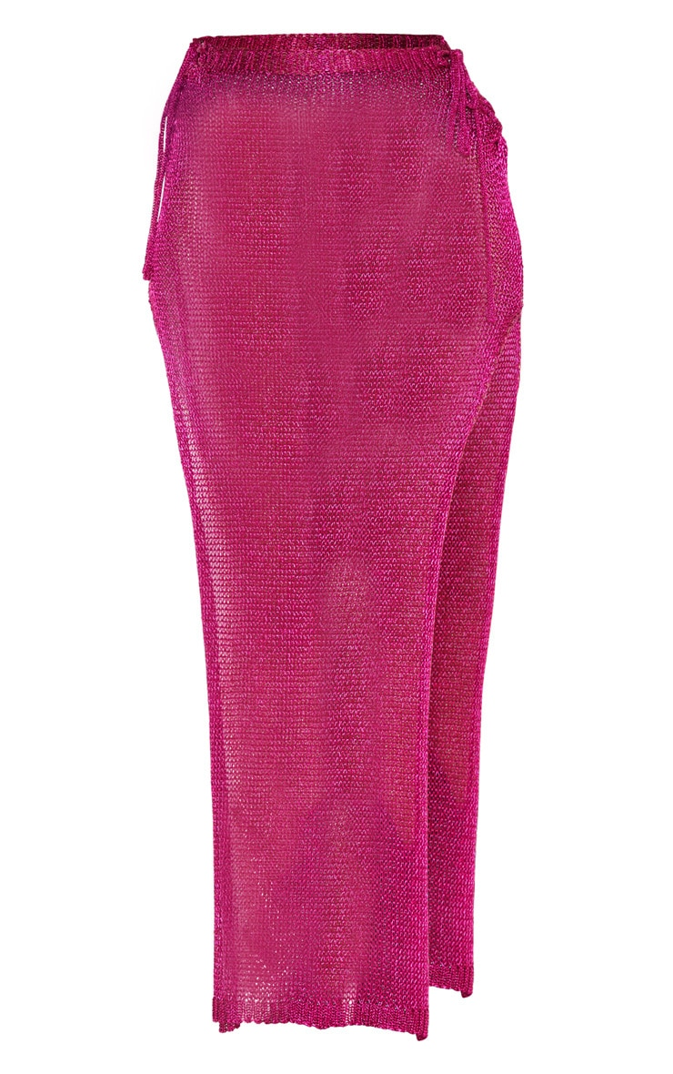 Hot Pink Metallic Knitted Maxi Skirt 3