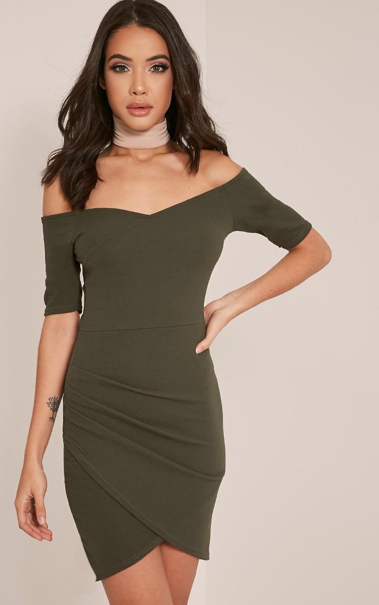 Brandy Khaki Bardot Ruched Side Bodycon Dress 1