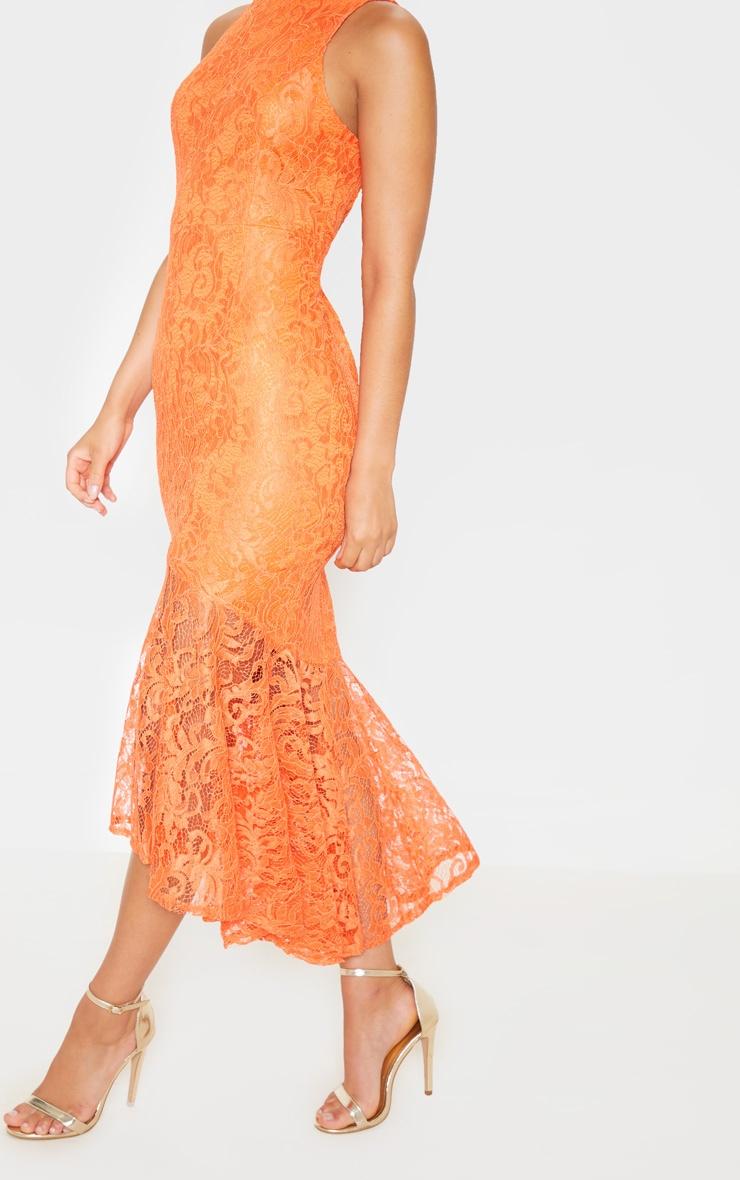 Bright Orange Lace High Neck Fishtail Midaxi Dress 5