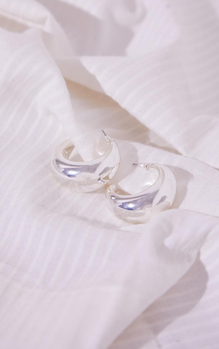 Silver Chunky Crescent Hoop Earrings 1