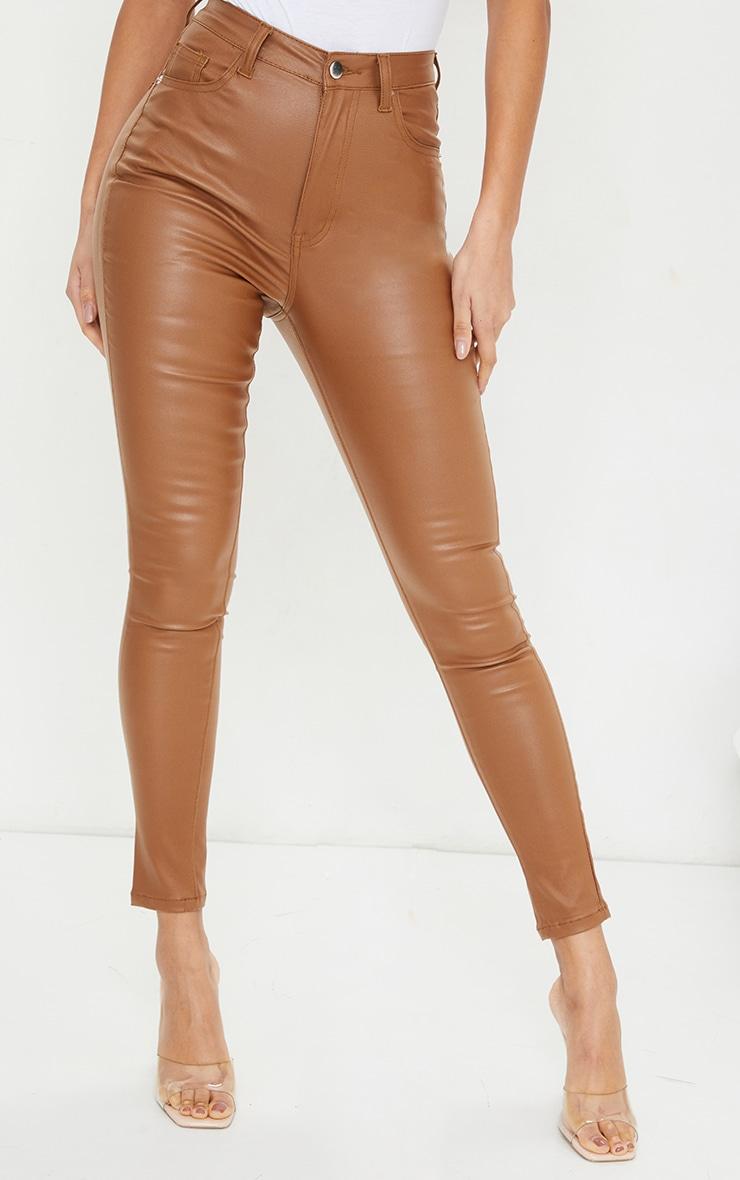 Tan Coated Skinny Jeans 2