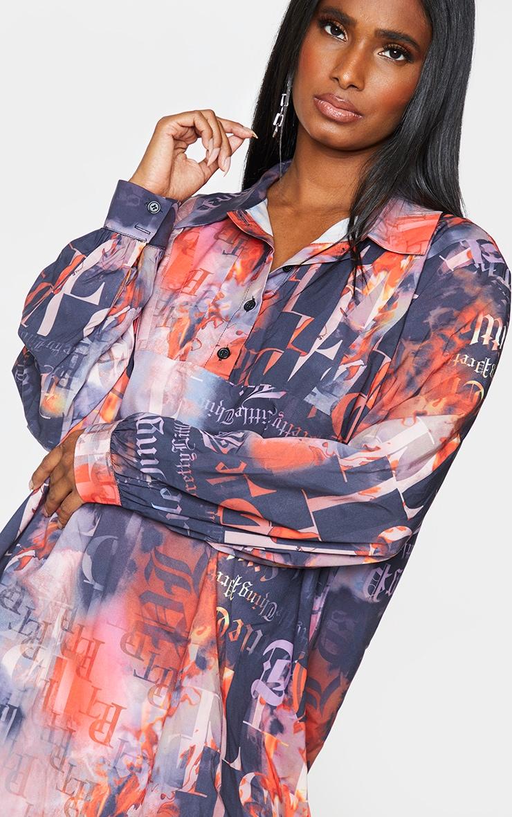 PRETTYLITTLETHING Slogan Print Black Pleated Detail Shirt Dress 4