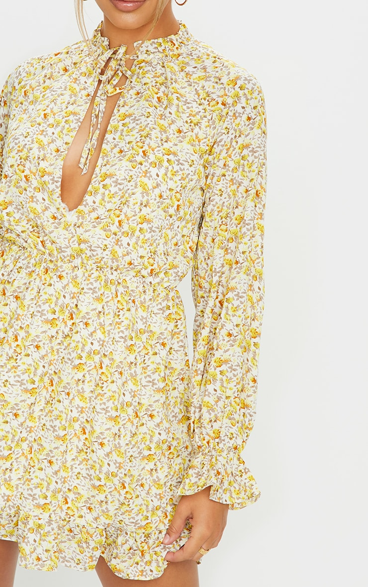 Lemon Floral Print Elasticated Frill Cuff Smock Dress 4