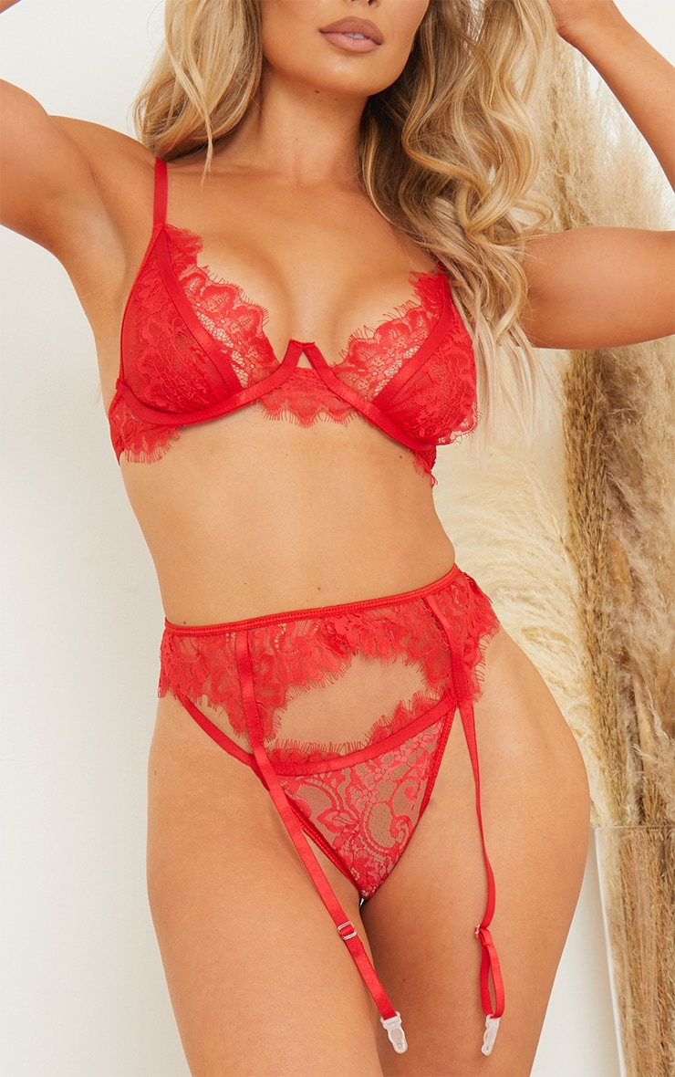Red Floral Lace Underwired 3 Piece Lingerie Set 4