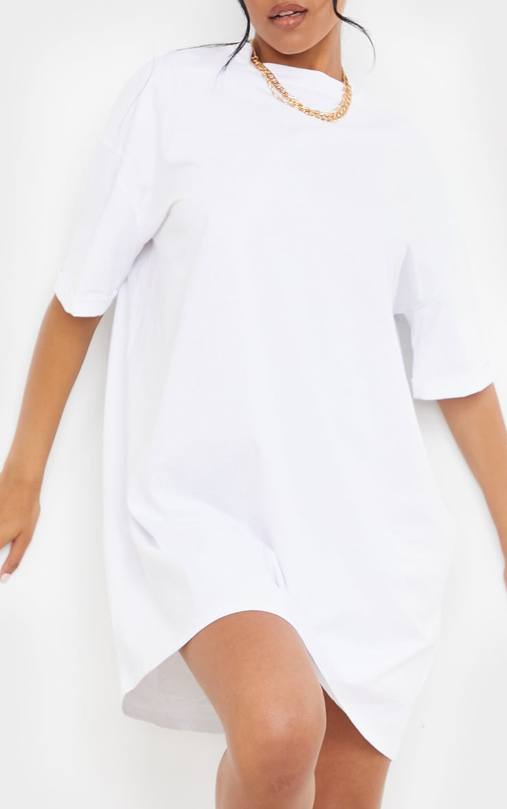 Tall White Oversized Organic Tshirt Dress 4