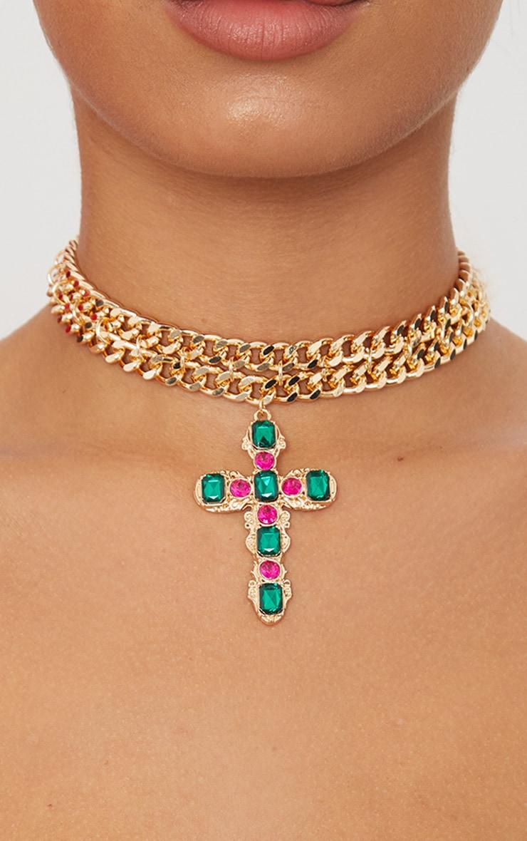 Gold Chunky Chain Green Pink Diamante Cross Choker 2