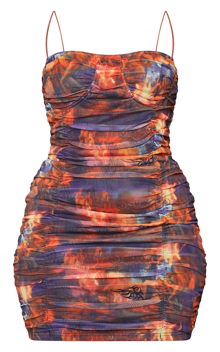Plus Red Flame Print Ruched Mesh Cup Detail Bodycon Dress 4