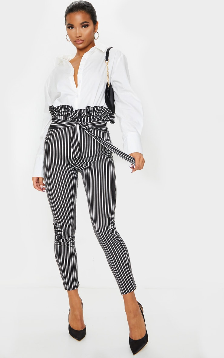 Black Stripe Paperbag Skinny Pants 1