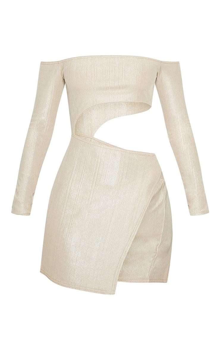 Champagne Plisse Bardot Cut Out Extreme Split Bodycon Dress 3
