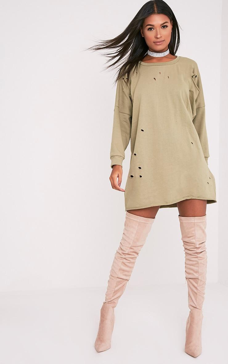 Emilia robe sweat à bords bruts aspect vieilli vert sauge 5