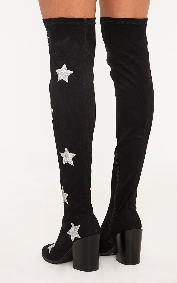 Ayesha Black Faux Suede Star Thigh High Western Boots 4
