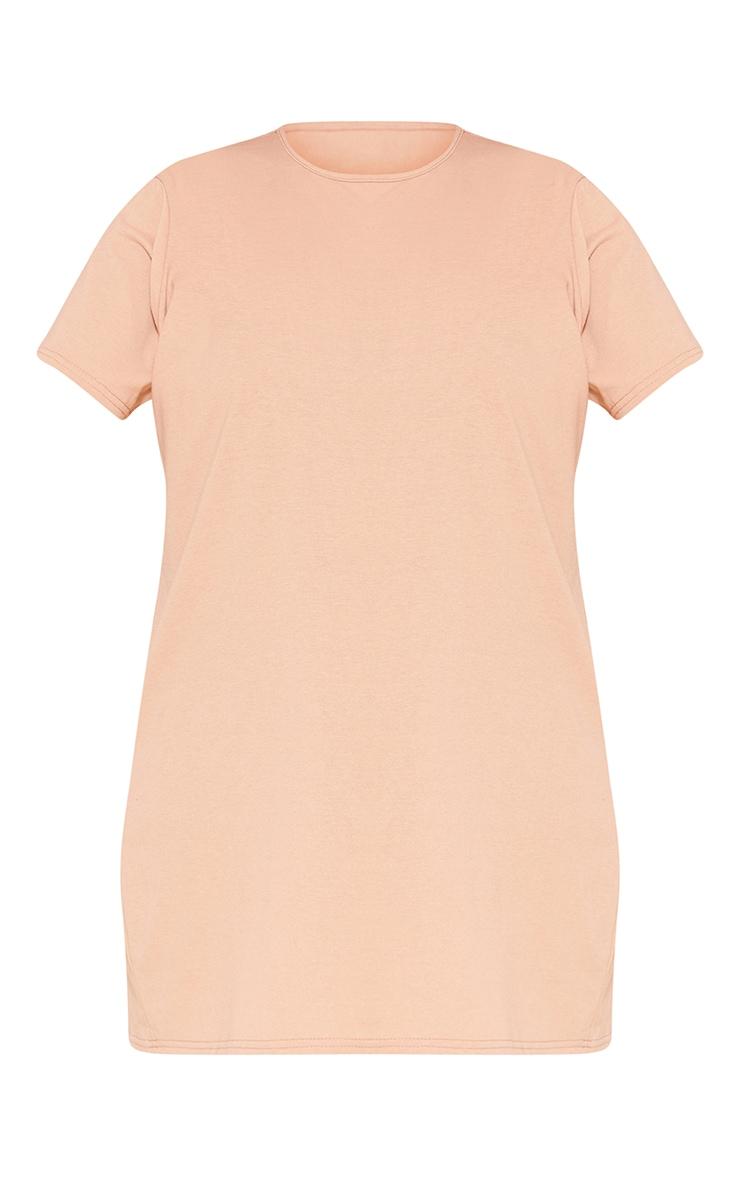 RECYCLED Plus Pale Tan T Shirt Dress 3